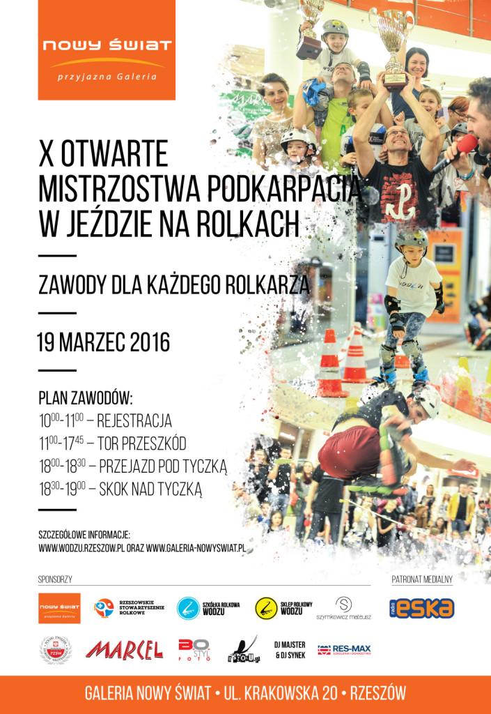 Oficjalny Plakat X Otwartych Mistrzostw Podkarpacia w jeździe na rolkach